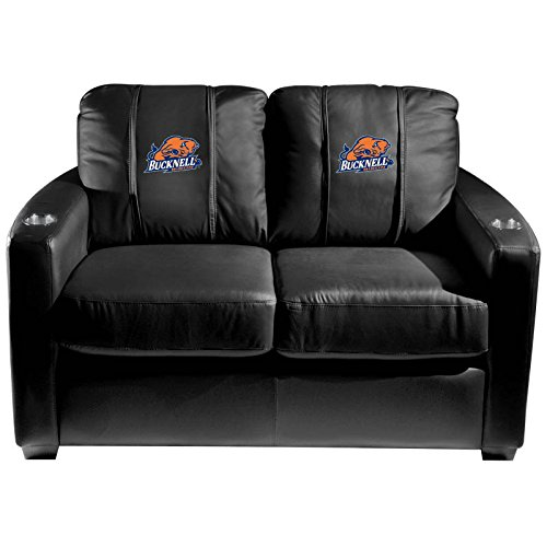 XZipit College Silver Loveseat with Bucknell Bison Logo Panel, Black