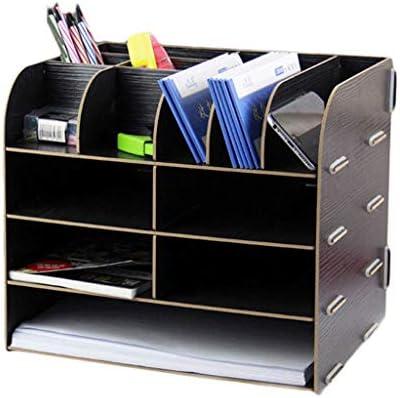 WDX Aktenhalter aus Holz, Schreibtisch-Aufbewahrungsbox mit mehreren Ebenen a
