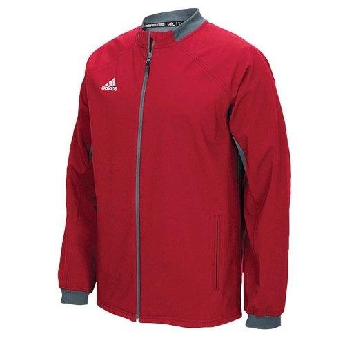 adidas Mens Climawarm Fielders Choice Full-Zip Warm Jacket Red/Grey Xs