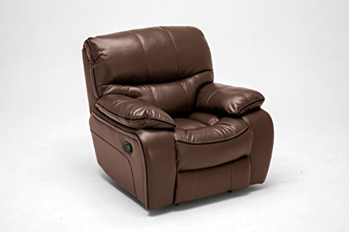 FurnitureMaxx Ewa Brown Leather Air Reclining Sofa, Loveseat And Recliner Chair