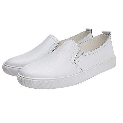 in Donna Scarpe Scarpe da Scarpe Ginnastica Barca Pelle Slip Balletto Bianco Loafers Sportiva Suole Scarpe Scarpe Allacciare Sneakers feiXIANG Piattaforma da da comode Appartamento On E47qnwR