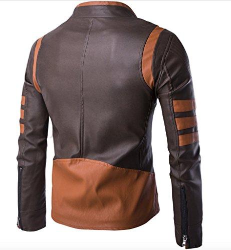 WSLCN X Homme Vintage Vest Moto Jacket en Similicuir Marron
