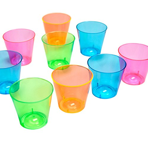 Party Essentials Hard Plastic 1-Ounce Shot Glasses, 150-Count, Assorted (Blue Assorted Cutlery)