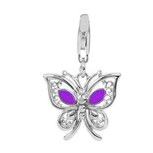 Sterling Silver Links Charm Butterfly with Purple Enamel , Width 9/16