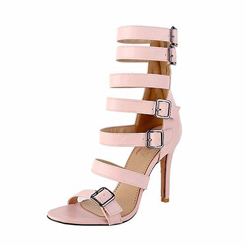 Tamaño grande zapatos de verano, sandalias de tacón alto, redondo y tacones altos talones Pink