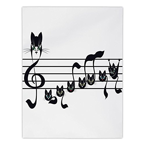 iPrint Satin Rectangular Tablecloth [ Music Decor,Notes Kittens Kitty Cat Artwork Notation Tune Children Halloween Stylized, Dining Room Kitchen Table Cloth Cover