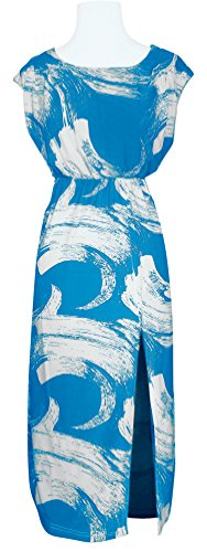 Peach Couture Boho Design Side Slit Maxi Tank Spring Summer Casual Dress (Brushed Print, Turquoise)