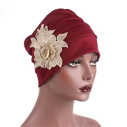 Litetao Clearance Chemo Cancer Full Cap Shower Cap Women Appliques Hat Head Scarf Wrap (Free Size, Wine (Applique Hat)