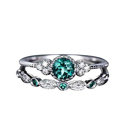 Women Knuckle-Ring Double Layer Rhinestone Green 10 US