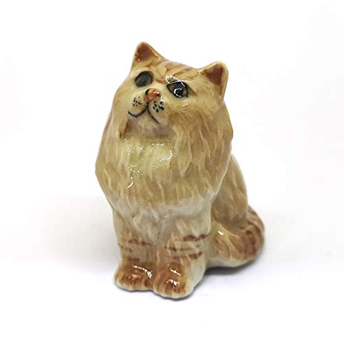 ZOOCRAFT Dollhouse Miniatures Collectible Ceramic Brown Persian Kitten Figurine Gift Ideas