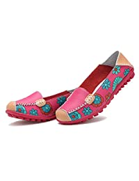 Women's leather loafers Bright Color Casual Flower Printed Slip On Leather Flat Pumps Shoes,WenHong