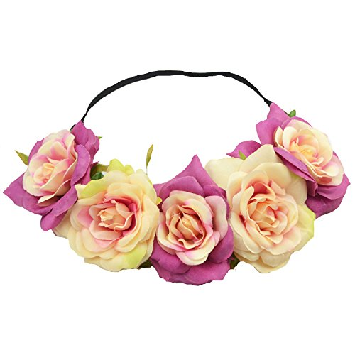 Price comparison product image Floral Fall Elastic Coffee Big Rose Flower Headband Hair Wreath Halo Crown F-37 (Peach Purple)