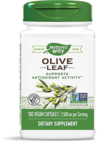 Nature's Way Premium Herbal Olive Leaf, 1,500 mg per serving, 100 Capsules (Packaging May Vary)