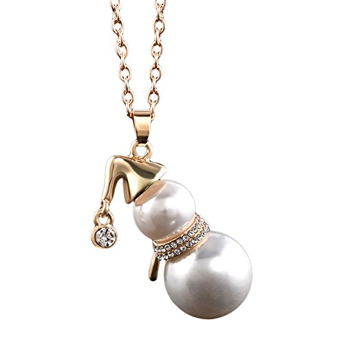 Necklace Opeof Xmas Jewelry Faux Pearl Cute Snowman Pendant Women Sweater Chain Necklace Gift - Golden