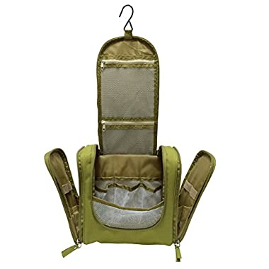 Portable Toiletry Bag for Women Makeup or Men Shaving Kit with Hanging Hook (green)
