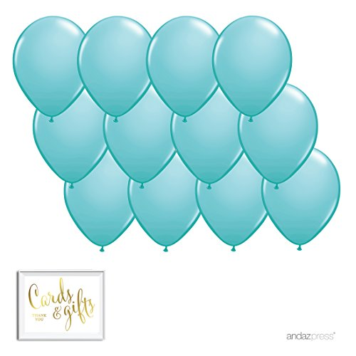Andaz Press 11-inch Balloon Party Kit with Gold Cards & Gifts Sign, Diamond Blue, 12-pk