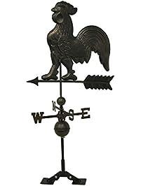 metal bronze finish metal rooster weather vane wroof mount 23 x 43 - Weather Vanes