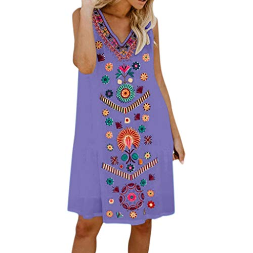 (SUNSEE WOMEN'S CLOTHES PROMOTION Womens Holiday Boho Print Dress - Ladies Summer Pomisi Loose Beach Party Dress,2019 Fashion)