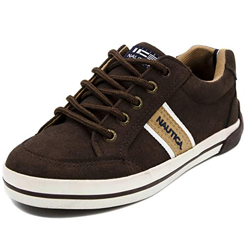 (Nautica Kid's Hull Boat Shoe Casual Lace Up Sneaker-Hull Youth-Dark Brown-1)