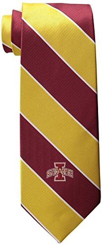 NCAA Men's Iowa State Cyclones State Traditional Striped Necktie, Cardinal/Gold ()