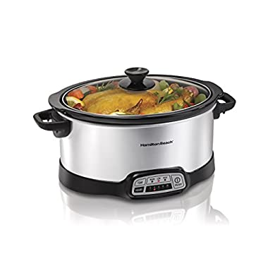 Hamilton Beach 33473 Programmable Slow Cooker, 7-Quart, Silver