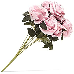 Juvale Artificial Flowers Silk Rose Bouquet with Stems for Wedding Decor and Crafts, Light Pink, 10 Heads 19