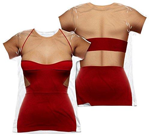 Juniors: Battle Star Galactica- No.6 Costume Tee (Front/Back) Juniors (Slim) T-Shirt Size (Cylon Six Costume)