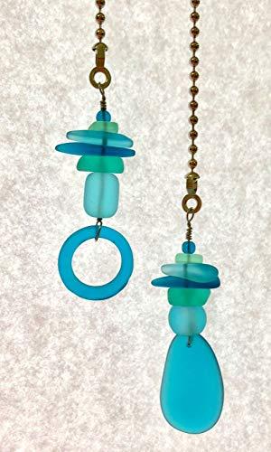 (Sea Glass Fan Pull Set Recycled Bottle Glass Aqua Blues Tropical Beach Accent Decor Light Accessory)