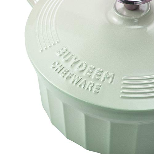 BUYDEEM CP521 3 Quart Dutch Oven, Enameled Cast Iron Dutch Oven with Stylish Cupcake Design, Round French Oven, Perfect… Salted Salad