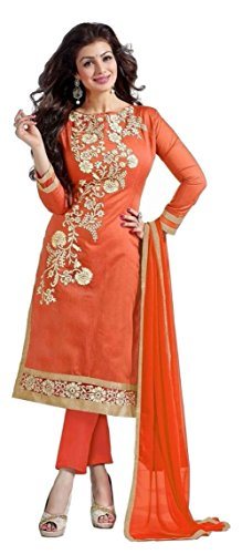 Anarkali Salwar Kameez Designer Indian Bollywood Ethnic Bridal Wedding (unstitched, orange)