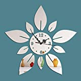 Eeayyygch DIY Wall Hanging Clock Decal Murals 3D Birds with Love Wallpaper Sticker For Home Decorations (Color : Sliver, Size : Flower Petals)