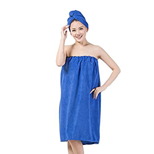 LifeWheel Women's Super Soft Absorbent Spa Towel Microfiber Bath Towel Wrap with Dry Hair Shower Cap (Blue)