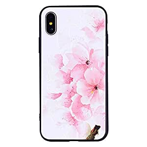For Apple iPhone X Beautiful Flower Emboss Anti Fall Mobile Phone Cover Protective Anti-Scratch Shockproof Back Case
