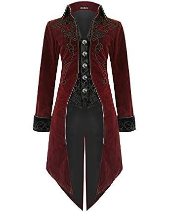 Devil Fashion Hommes Queue DE Pie Veste Rouge Velours Gothique Steampunk  Aristocrate Régence - Bordeaux Rouge b90232a69b5