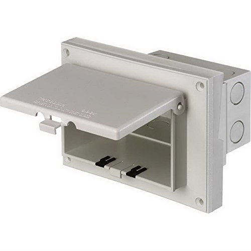 Arlington DBHR171C-1 Low Profile IN BOX Electrical Box with Weatherproof Cover for Retrofit Siding Construction, Dutch Lap, Horizontal, Clear (Arlington Commons)