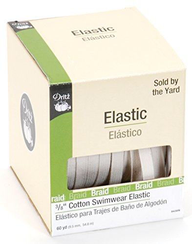 Dritz 9438N Cotton Swimwear Braided Elastic, Natural, 3/8-Inch by 60-Yard