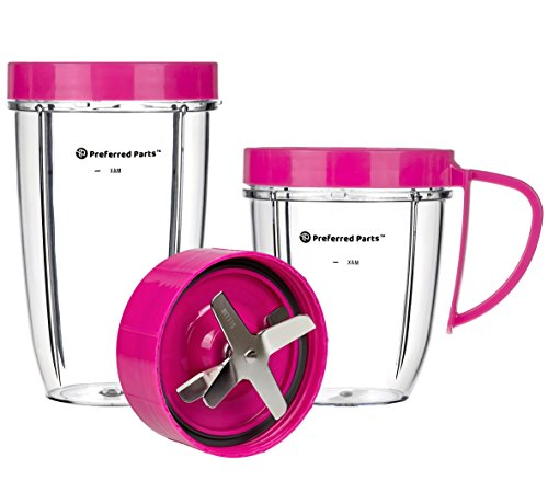 Preferred Parts, NUTRiBULLET Cups & Blade Replacement Parts Set for NutriBullet (5 Piece Set) | Premium NutriBullet Accessories (Pink) (Appliance Parts Kitchen)