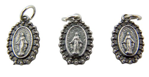 Jewelry Making Charms Lot Of 3 Our Lady Of Grace 1  Silver Mini Miraculous Medal