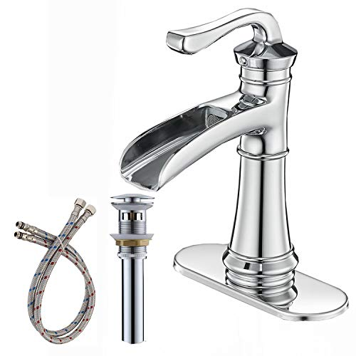 - BWE Chrome Waterfall Commercial Single Hole One Handle Bathroom Sink Faucet Deck Mount Lavatory