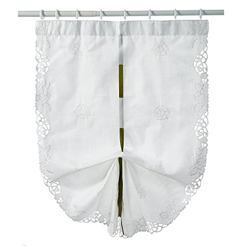 Fashion Flowel Embroidery Polyester Tie-Up Window Panel Roman Shades White 33