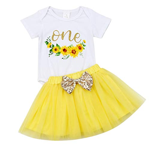 (Newborn Infant Baby Girl Birthday Outfits One Romper Bodysuit Tops+Tutu Skirt Dress Clothing Sets (Yellow, 12-18m) )