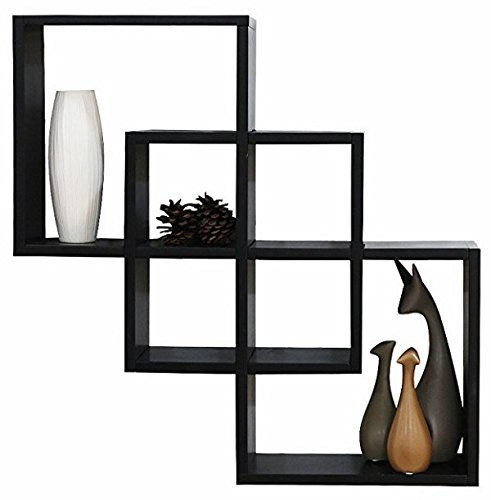 SW Home Shelving Solution Quadrate Decorative Wall Shelf White &Black by SW Shiny Way