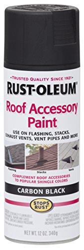 Rust-Oleum 285227 Roof Accessory Spray Paint, 12 oz, Carbon Black/Black Shingle Roof Vent