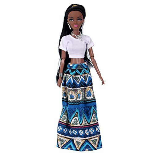 Rambling African American Dolls Baby Movable Joint Toy Best Birthday Gift (Blue A)