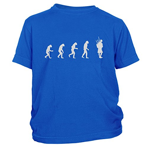 ShirtLoco Boys Evolution Of Man To Bagpipes Player Youth T-Shirt, Royal Blue Extra - Rlx Uk