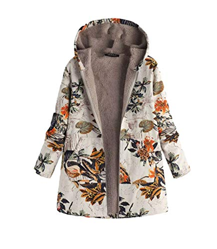 Soluo Womens Winter Warm Thick Plush Coat Floral Print Hooded Vintage Overcoat -