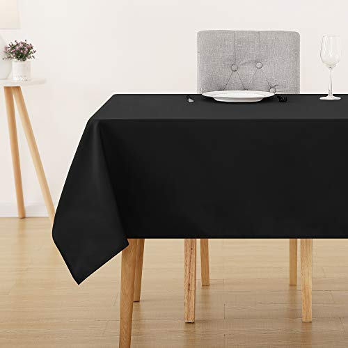 Deconovo Solid Oxford Rectangle Black Tablecloth Water Resistant Tablecloths for Kitchen 60x120 -