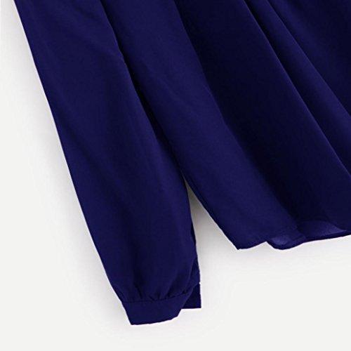 Tefamore Manica Camicia Lunga Sciolto Blu Scuro Piega Estate Casuale Donne Chiffon qHqO4