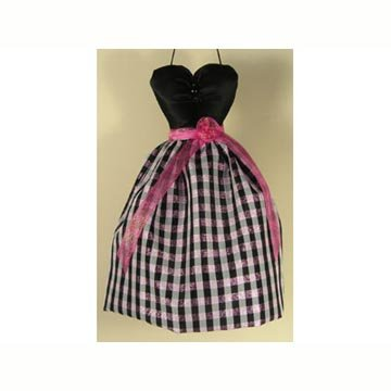 - Mini Gown Sachet - Black Pink Plaid