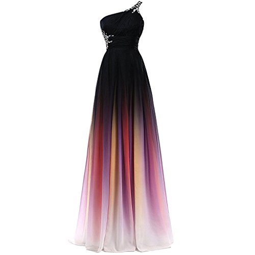 One Shoulder Gradient Chiffon Prom Evening Dresses Long Rainbow Colorful Plus Size US 20W